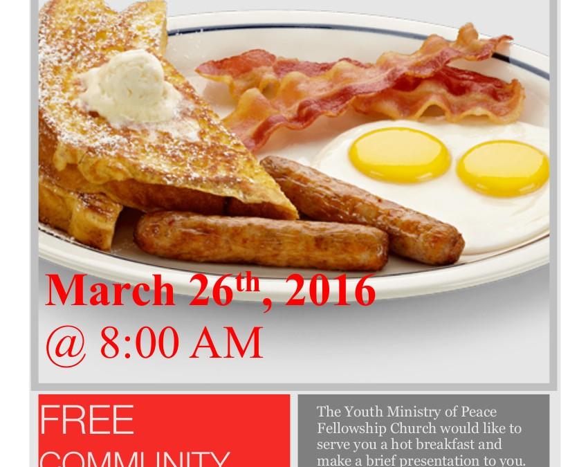 Community Breakfast, Saturday, March 26